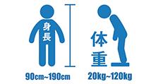 身長90cm以上190cmまで、体重20kg以上120kgまでの方がご利用できます。