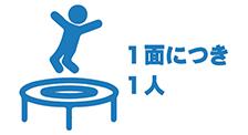 トランポリンは、1面に1人が原則です。複数の人数でジャンプしないでください。